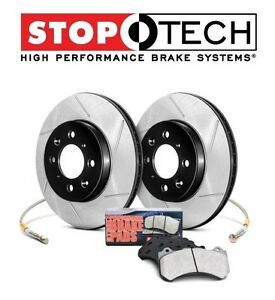 For Honda S2000 Ap1 Front Slotted Brake Rotors Pads Kit Stoptech 977