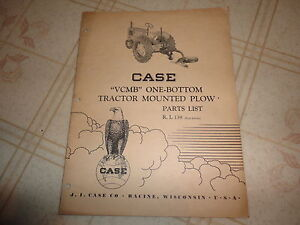 Case Vcmb One Bottom Tractor Mounted Plow Parts Catalog Manual