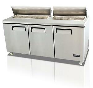 Migali 32 Cu ft Ss Big Top Sandwich Prep Table 3 Solid Doors 30 Pan