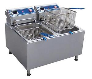 Globe Pf32e 32lb Stainless Steel Electric Counter top Fryer Dual Tank