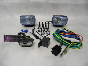 Hella Optilux 1472 Fog Lamps Lights Kit Universal Black Rectangular Blue Lens