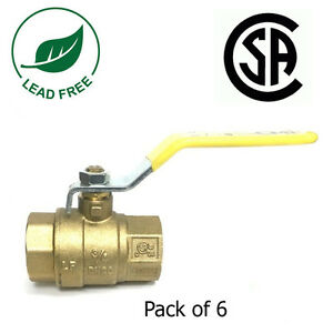 3 4 Ips Full Port Brass Ball Valve Csa Approved 600 Wog Lead Free Pack Of 6