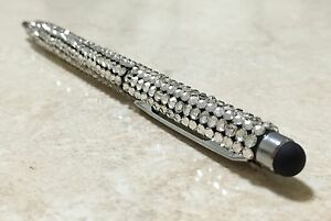 Clear Silver Bling Made With Swarovski Crystals Gem Writing Touch Ball Point Pen