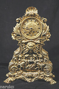 Victorian French 19thc Gilded Bronze Clock W Strike On Bell Hemon Paris Mvmt