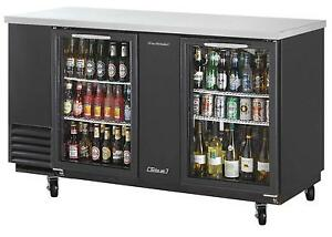23 Cuft Black Vinyl Ext Back Bar Cooler W Glass Doors Tbb 3sg