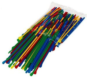 400 Spoon Straws Multi colored 8 Inch Great For Shaved Ice Snow Cone Slush Drink