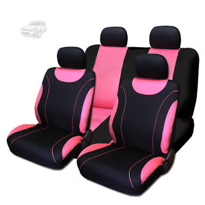 New Sleek Black And Pink Flat Cloth Seat Covers Set For Chevrolet