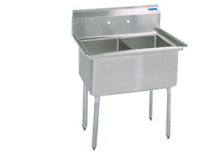 Bk Resources Bks 2 24 14 2 24 x24 x14 Deep Compartment Sink W No Drain Board