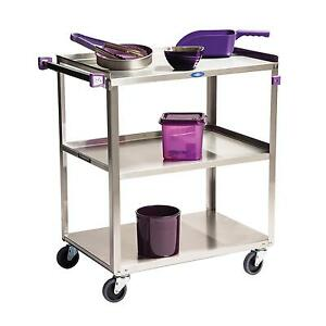 Lakeside 322a 18 3 8 x30 3 4 x33 3 tier Stainless Steel Utility Cart