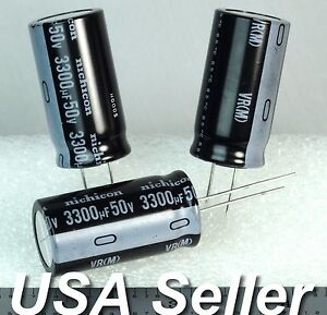 lot Of 3 3300uf 50v Nichicon Vr Radial Capacitors fast Usa Ship