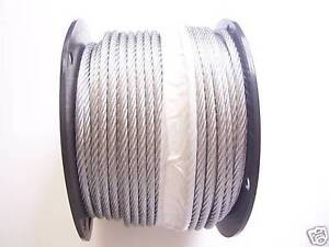 Galvanized Wire Rope Cable 3 8 7x19 50 100 150 200 250 500 1000 Ft