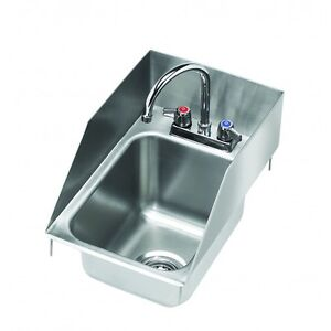 Krowne Metal Hs 1225 One Compartment Drop in Hand Sink W Splash Guards