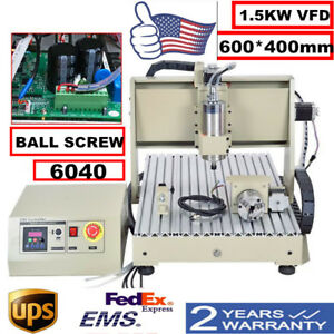 Usb Four 4 Axis 6040 1500w Cnc Router Engraver Engraving Milling Machine Desktop