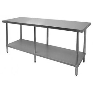 Thunder Group Slwt43096f Flat Top Work Table Stainless Steel 30 X 96 X34
