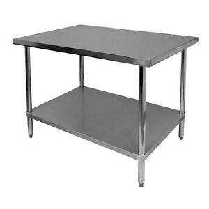 Thunder Group Slwt42460f Flat Top Work Table Stainless Steel 24 X 60 X 34