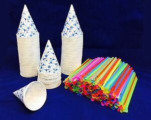 200 Snow Cone Paper Cups 6 Oz With Spoon Straws For Machine Quick Free Shipping