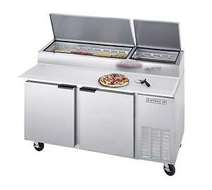 Beverage air Dp67 67in Two Section Refrigerated Pizza Prep Table