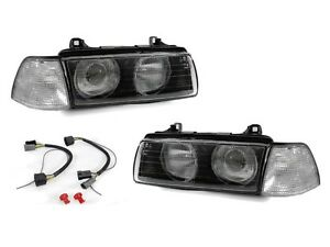 Depo Hella Glass Lens Projector Headlight clear Corner Lights For Bmw E36 4d 3d