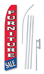 Furniture Sale Red Tall Advertising Banner Flag Complete Sign Kit 2 5 Feet Wide