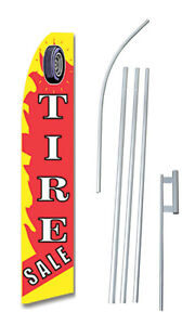 Tire Sale Flame Tall Advertising Banner Flag Complete Sign Kit 2 5 Feet Wide