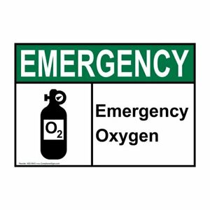 Emergency Oxygen Ansi Safety Sign 7x5 In Plastic Made In Usa