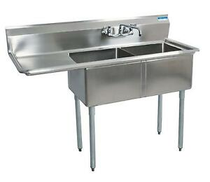 Bk Resources Two Compartment Stainless Sink W 16x20 X12d Bowls W Dboard