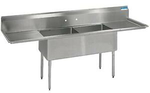 Bk Resources Two Compartment S s Sink 16 x20 x12 d Bowls W 2 Drainboards