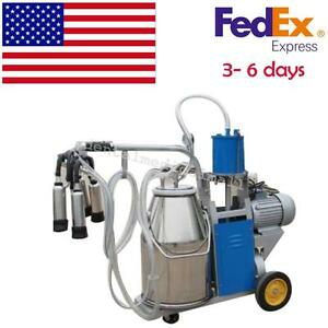 Safety Electric Milking Machine For Farm Cows Bucket Piston Vacuum Pump Milker