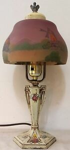 Original Moe Bridges Art Nouveau Reverse Painted Lamp