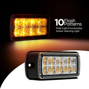 Surface Mount Dual Row Amber Led Strobe Light With 10 Selectable Flash Patterns
