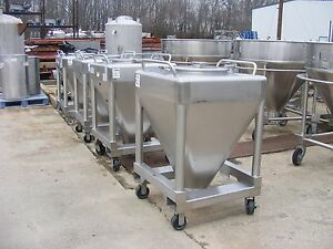 10 Cu ft Approx 80 Gallon Stainless Steel Cone Bottom Tote Tank On Wheels