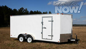 7x16 Enclosed Trailer Cargo Tandem Dual V nose Utility Motorcycle Lawn 18