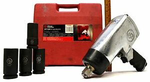 Chicago Pneumatic 3 4 Impact Wrench Kit cp772hk W 4 Sae Sockets 1 000 Ft lbs