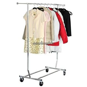Adjustable Steel Clothes Hanging Rail Garment Stand Rolling Rack 150 Lbs Us