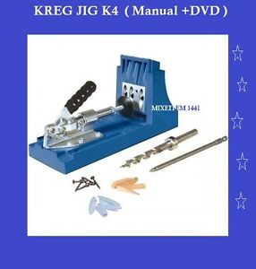 Kreg K4 Pocket Hole Jig System Woodworking Kit Manual dvd Home Improve