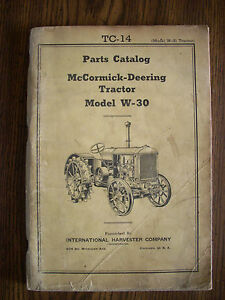 Ih Farmall International Mccormick W30 Parts Manual