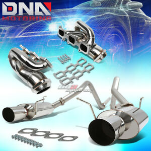 Shorty Header Manifold Dual 4 Muffler Tip Catback Exhaust Fit 11 14 Mustang 3 7