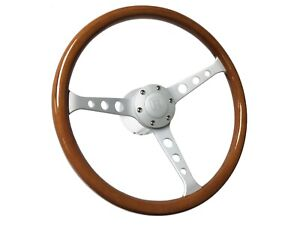 1961 1974 5 Vw S6 Classic Wood Steering Wheel Kit Brushed Castle Emblem