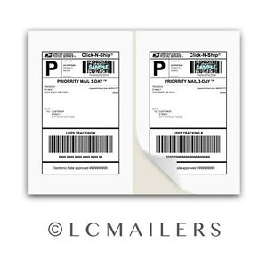Shipping Labels 1500 8 5x5 5 Square Corner Self Adhesive 2 Per Sheet Packzon