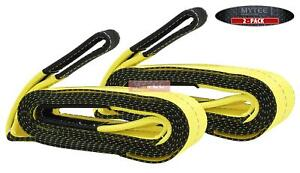 2 Pack 4 X 20 Heavy Duty Recovery Tow Strap 32000 Lb Break Strength Towing