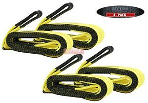 4 Pack 3 X 20 Heavy Duty Recovery Tow Strap 24000 Lb Break Strength Towing