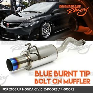 Fits 06 Up Honda Civic 2 4dr Bolt On Stainless Steel Muffler 4 Out Burnt Tip