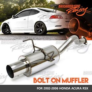 Fits 02 06 Acura Rsx Bolt On Stainless Steel Muffler 2 5 Inlet 4 Outlet Chrome