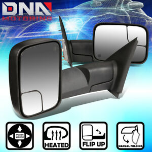 For 2002 2008 Dodge Ram Truck Pair Power heated Foldable Side View Towing Mirror