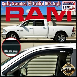 For 2009 2019 Ram Crew Cab Side Window Door Visor Vent Sun Shade Rain Deflectors