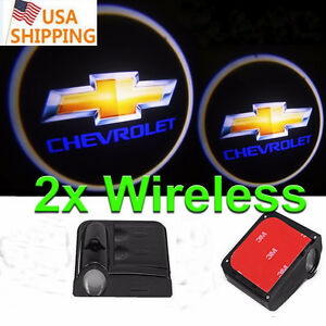 2pc Wireless Led Courtesy Car Door Step Laser Welcome Ghost Lights For Chevrolet