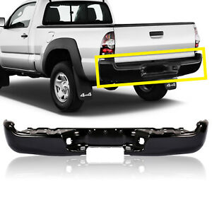 Rear Black Bumper Steel Face Bar For 2005 2015 Toyota Tacoma Fleetside Styleside