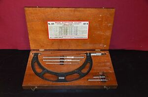 Starrett 224 Vintage Satin Chrome 6 To 9 Micrometer Caliper Set B Wood Case