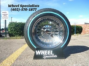 13x7 72 Spoke Knockoff Lowrider Wire Wheels Chrome Rims Package 4 Set Tires
