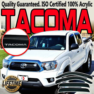 Fits Toyota Tacoma 2005 2015 Double Cab Window Visors Side Vent Deflectors Shade
